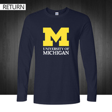2016 new Michigan University American college baseball s jersey clothing long sleeve cotton t shirt puls size printed tee top(China)