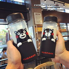 2017 Cute Kumamon Thermos Water Bottle Japan Mascot Termos Mug Glass Vacuum Cup 430ml Children's Day Gift(China)
