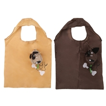Cartoon Dog Foldable Folding Shopping Recycle Carrier Tote Reusable Eco Bag(China)