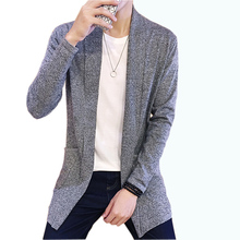 Men Sweater Spring New Slim Fit Cardigan Men Long Simple Turn Down Collar Casual Men's Knitted Sweaters Plus Size M-5XL(China)