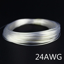 10/50/100m 24AWG Silver plated cable Teflon OD 1.1mm headphone cable DIY earphone wire audio cable high temperature wire 9 color(China)