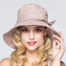 Women New Summer Foldable Sun Protection UV Outdoor Pure Color Breathable Casual Holiday Cotton Adjustable Hat Butterfly 54-61cm(China)
