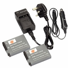 DSTE 2PCS KLIC-7003 Rechargeable Battery + Travel and Car Charger For KODAK GE-E1030 GE-E1040 GE-E1050TW GE-E1240 GE-E1250TW
