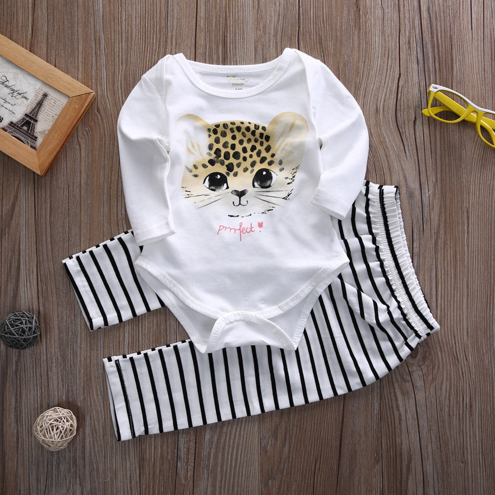 Cute Cat Kid Baby Girls Long Sleeve Bodysuits Tops + Long Pants Cotton Outfits 2PCS Set Kids Baby Clothes 0-3<br><br>Aliexpress