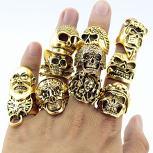 12 Piece/lot Wholesale Mix Big  Skull Ring in Jewelry Gold Plate Top Quality Bohemian Statement Punk Ring for Men Free Shipping