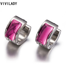 VIVILADY Trendy Resin Stone Round Hoop Earrings Women Celebrity Brand Office Party Gifts Bijoux Fashion Stainless Steel Jewelry