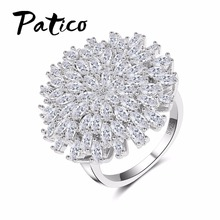 PATICO Engagement Ring Band Zircon 925 sterling silver White Flower Wedding Ring Fashion crystal Rings for Women Valentine's Day