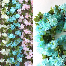 2017 NEW 4PCS 220CM Lifelike Silk Artificial Cherry Blossom Flower Garland Vine in Wedding Church Decor Pink White Blue AT128