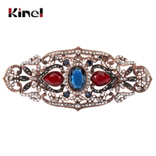 Kinel Big Size Women Brooch Ellipse Hollow Flower Cap Badge Hairpin Belt Pin Antique Gold Color Rhinestone Turkish Resin Jewelry(China)