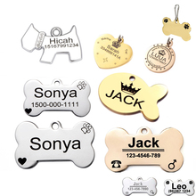 Pet id tag for dog Engraved dog tag stainless steel Bone dog id tag Free High Power Laser Engraving text on Pet Tags two sides