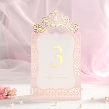 Gold Crown Pink Color Wedding Table Place Card With Table Numbers