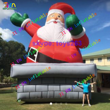 giant 6m/8m/10m high inflatable santa claus on chimney Xmas old man outdoor advertising Christmas santa claus(China)