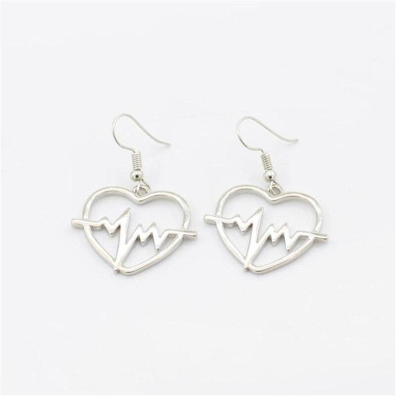 2018 Trendry Earrings for Women 's Heart shaped electrocardiogram Earrings Ear Studs Jewelry Ornament Jewelry Brincos J05#N (5)