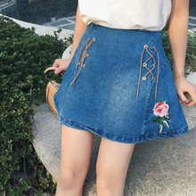 CK483 Urban Outfitters Cotton Denim Mini Skirts Women Embroidery A Style Skirts For Women Casual Stylish Jeans Womens Skirts
