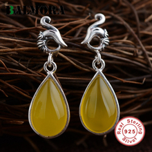 BALMORA Water Drop Shape 925 Sterling Silver Yellow Chalcedony Phoenix Drop Earrings for Women Mother's Gift Jewelry MN30882(China)