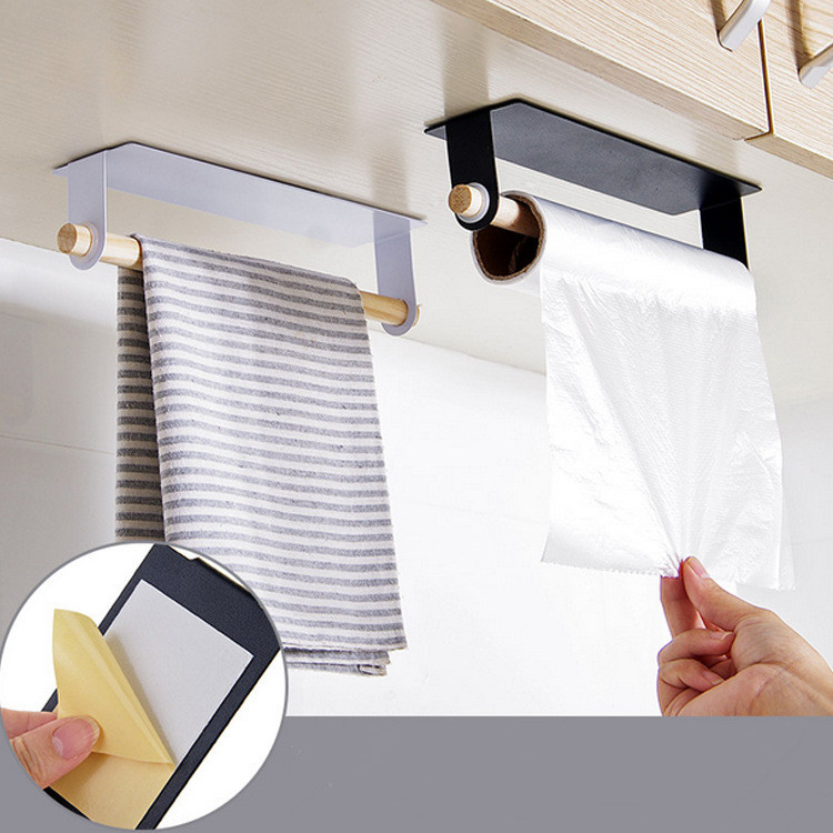 HOT Paste Wrapped Towel Bar Free Punching Iron Towel Rack Kitchen Wipes Rack Towel Shelf 3