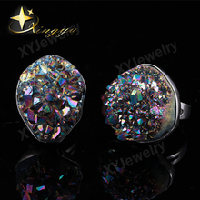 Top Selling Natural Stone Druzy Ring for Women Party Quartz Drusy Ring Silver Bezel Adjustable Free Shipping