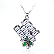 Fashion Game Grand Theft Auto Letter chain Necklace White Enamel Pendant jewelry
