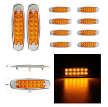 "Keyecu 6.15"" Marker Clearance Light 12LED Pigtail Connector Amber Trailer Light, Steel Cover plus ABS Plastic Base Plus PC Lens(China)"