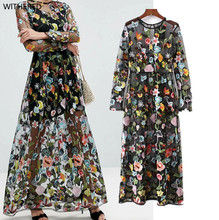 Freeshipping vestidos summer dress European and American wind couture fashion sexy perspective gauze floral embroidery dress