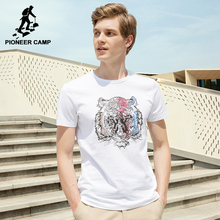 Pioneer Camp New tiger pattern T shirt men brand clothing white printed male T-shirt top quality 100% cotton Tshirt ADT702244