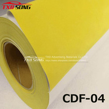 CDF-04 Yellow Flock heat transfer PU VINYL For cutting plotter transfer flock PU vinyl for garments with size:50X100CM/LOT(China)