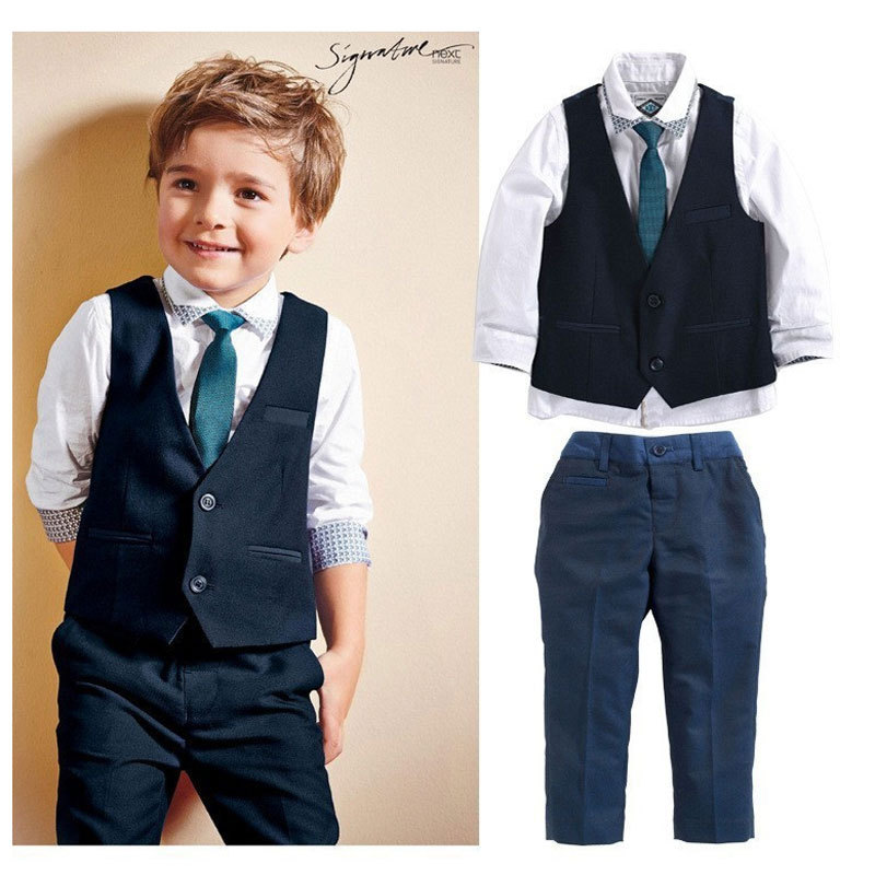 Toddler Clothing Boys Gentleman Wedding Clothes Cotton Kids Clothes Vest Shirt Jeans Suits Children Baby Boy Clothing Sets<br><br>Aliexpress