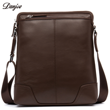 DANJUE Genuine Leather Crossbody Bag Male Brand Business Shoulder Bag Men High Quality Soft Leather Daily Bag Thin Men Bag(China)