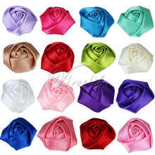 50Pcs/Lot Mini 4CM Satin Rose Rosette Flower Head for Baby Girl Kids Head wear Headbands DIY Accessories Party Decor Photo Props(China)