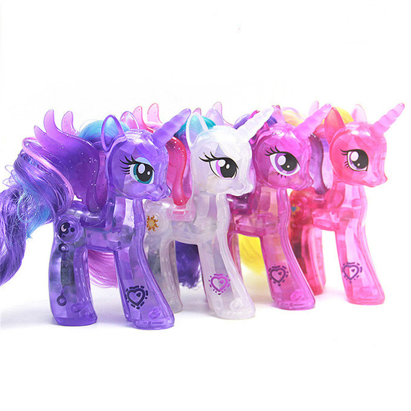 Pony Toys Horse in Action Figure 10CM Press and Hold the cute logo will Shine Toy Model PVC Doll For over 6 year Girls Kids Toy<br><br>Aliexpress