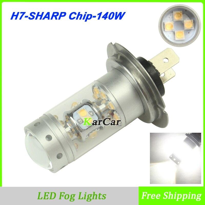 2x 140W 1200LM SHARP Chip H7  LED Fog Lamp 12V Car Daytime Driving Lights Universal High Power LED Bulb 5500K White<br><br>Aliexpress