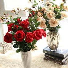 3 Heads Artificial Real Touch Rose Flowers Decoration Fresh Rose Artificial Flowers Cheap Roses for Wedding Bouquet Decoration(China)