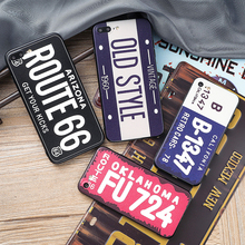 ZUCZUG  for iPhone 8 7 6 6S Plus 5 5S SE Cool Car License Plate Case Gunma OKLAHOMO Route66 TPU SILICONE Cover Protect Phone Bag
