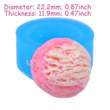 XYL131U 22.2mm Ice Cream Scoop Silicone Mold - Fondant, Sugarcraft, Chocolate, Marshmallow, Cookie Biscuit, Resin Clay, Wax Mold