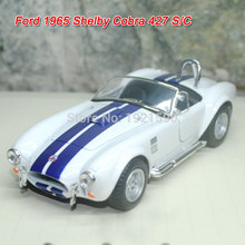 Brand New KINGSMART 1/32 Scale USA Ford 1965 Shelby Cobra 427 S/C Supercar Diecast Metal Pull Back Car Model Toy For Gift/Kids