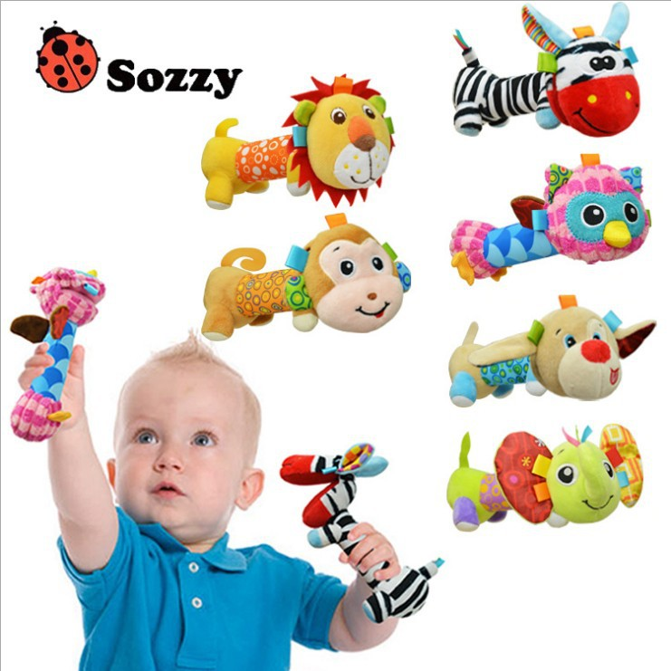 Sozzy 9cm Baby Toy plush doll rattles Climb climbing BB stick Hand wand mirror Soft cartoon dog Monkey lion Animal Toy children Игрушка