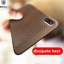 BASEUS Brand Sky Series Hard Plastic Mesh Holes Back Case For iPhone X Anti-Sweat / Anti-Skid/Anti-Dirt Cover(China)