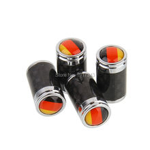 4PCS Car Styling Carbon Fiber Tire Valve Center Caps Auto Parts Wheel Tyre Valve Caps Emblem Germany Flag Greman National Flag
