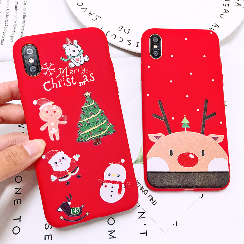 Phone Case For iPhone 7 5 S 5S SE 6 6s 7 8 Plus X XR XS Max Fashion Cute Cartoon Christmas Lovely Santa Claus Elk Soft TPU Cover (12)
