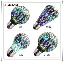 New dimmable A60 / G95 / G125 / st64 e27 LED tungsten light 3D fireworks bulb magic light bulb Colorful light bulb