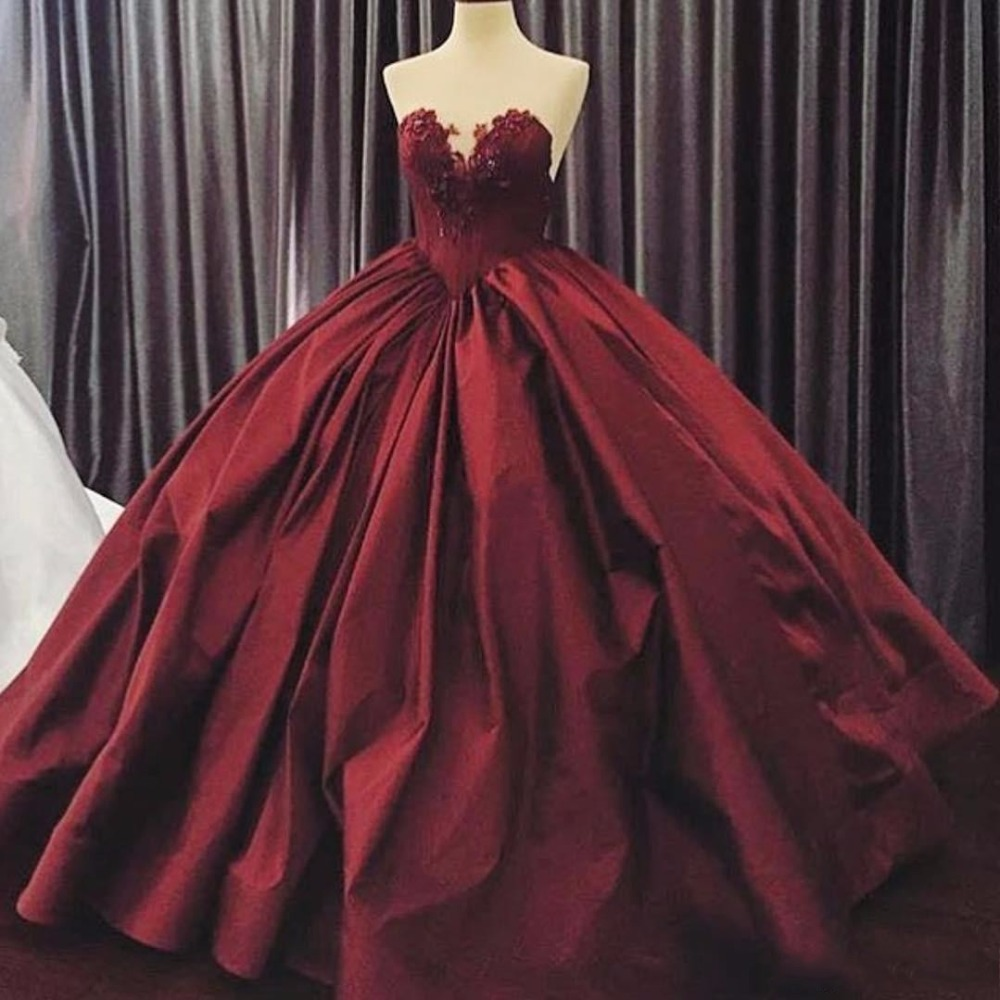 real-images-ball-gown-evening-dresses-dark-burgundy-satin-sweetheart-applique-beaded-full-length-2016-custom-made-occasion-dress-prom-gowns