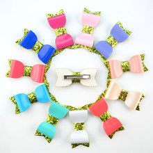 12pcs Boutique Kids Girls Hair Bows with Clip Glitter Sequin Hairbow Faux Leather Bows Royal Blue Red Peach White NEON etc.
