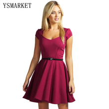 2017 Summer Simply Cute Mini Dress Elegant Square Neck Solid Wine Sexy Women dress Vestidos Short Sleeve Party Club Dress NEM092(China)