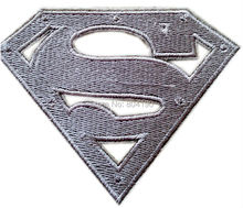 "4"" Superman S Die Cut Metal Chest Logo Silver Uniform Logo Animated Movie TV Series Costume Embroidered applique iron on patch"