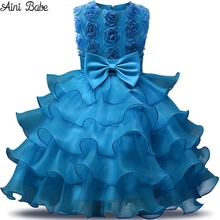 Aini Babe Toddler Girl Children Dress Tulle Tutu Christening Gown Kids Party Princess Dresses For Little Girls Wedding Dress