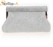 TenTop-A Women Diamond Clutch Evening Bags Silver Gold Black Solid Color Full Diamonds Mini Chain Party Clutch Purse Wedding Bag