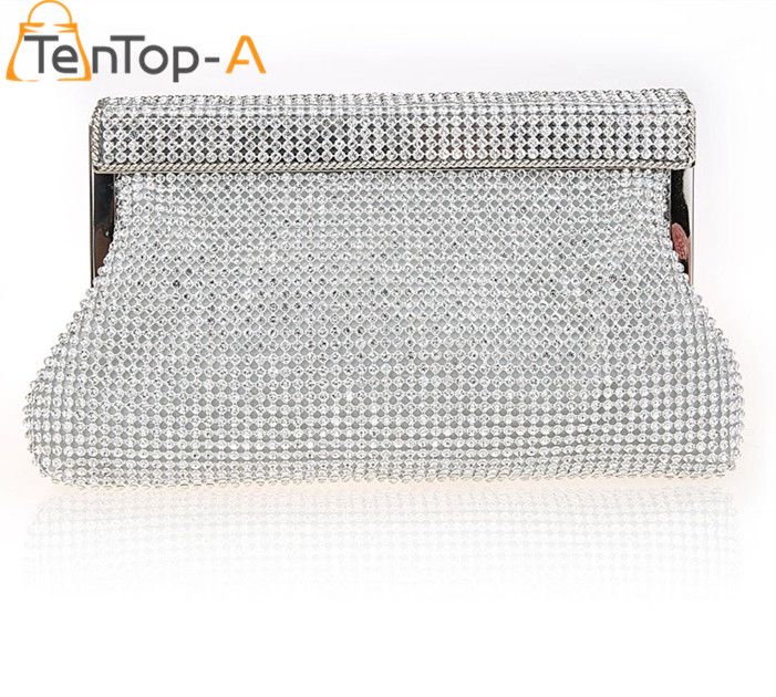 TenTop-A Women Diamond Clutch Evening Bags Silver Gold Black Solid Color Full Diamonds Mini Chain Party Clutch Purse Wedding Bag<br>