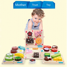 Wooden Kitchen Fruits Dessert Set Fun Baby Cutting Toy Dual Educational Food Cognition 3D Puzzle Shape Matching Jigsaw Toy(China)