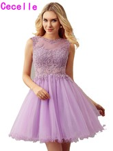 Lilac A-line Short Juniors Cocktail Dresses Beaded Lace Open Back Sexy Informal Girls Prom Cocktail Dress Custom Made Real Photo