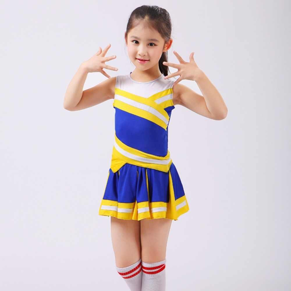 Children Cheerleading Costume Students Aerobics Cheerleader Clothing Kids Cheerleader Costume No Pom Pom Dropshipping
